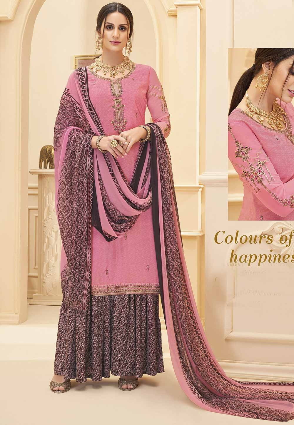 Sharara Salwar Suit Pink Colour.
