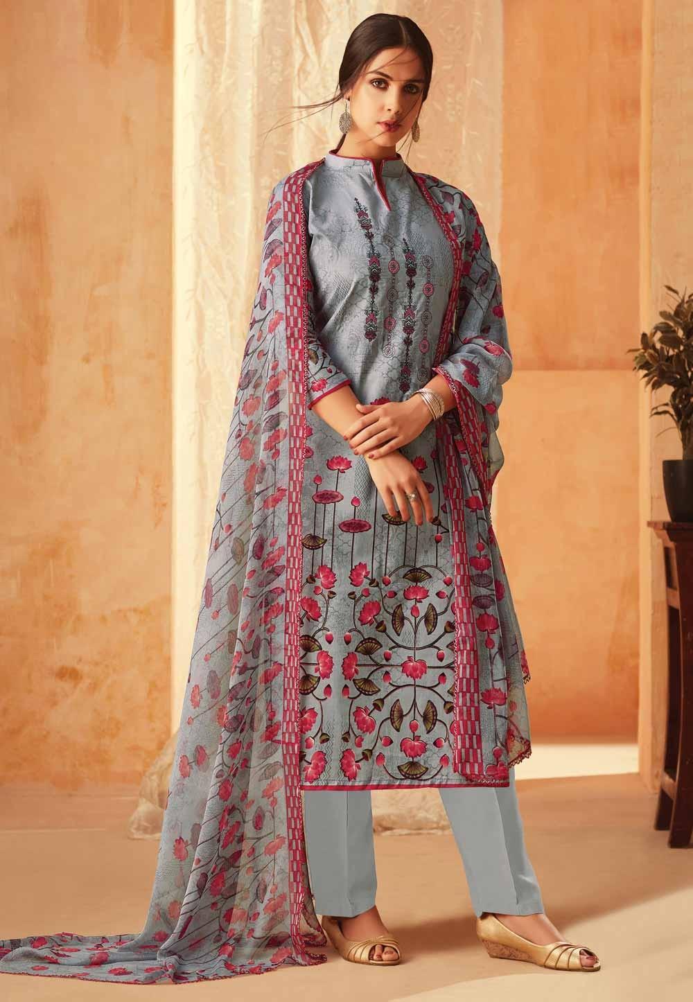 Printed Salwar Kameez Grey Colour.