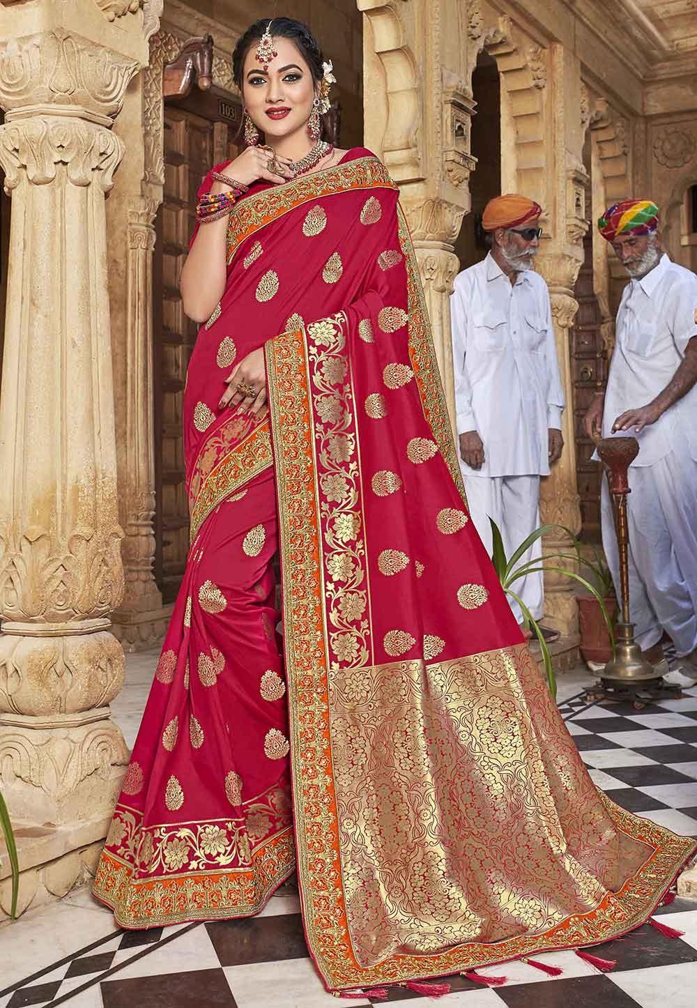 Indian Wedding Saree Red Colour.