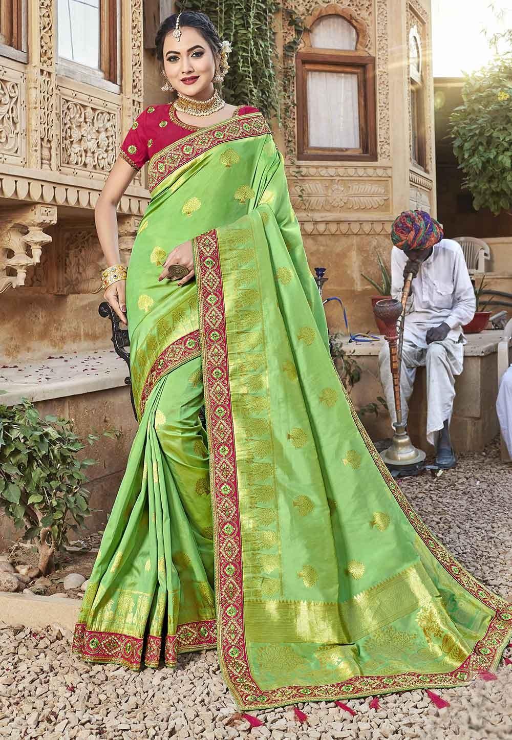 Light Green Colour Silk Traditional Saree.