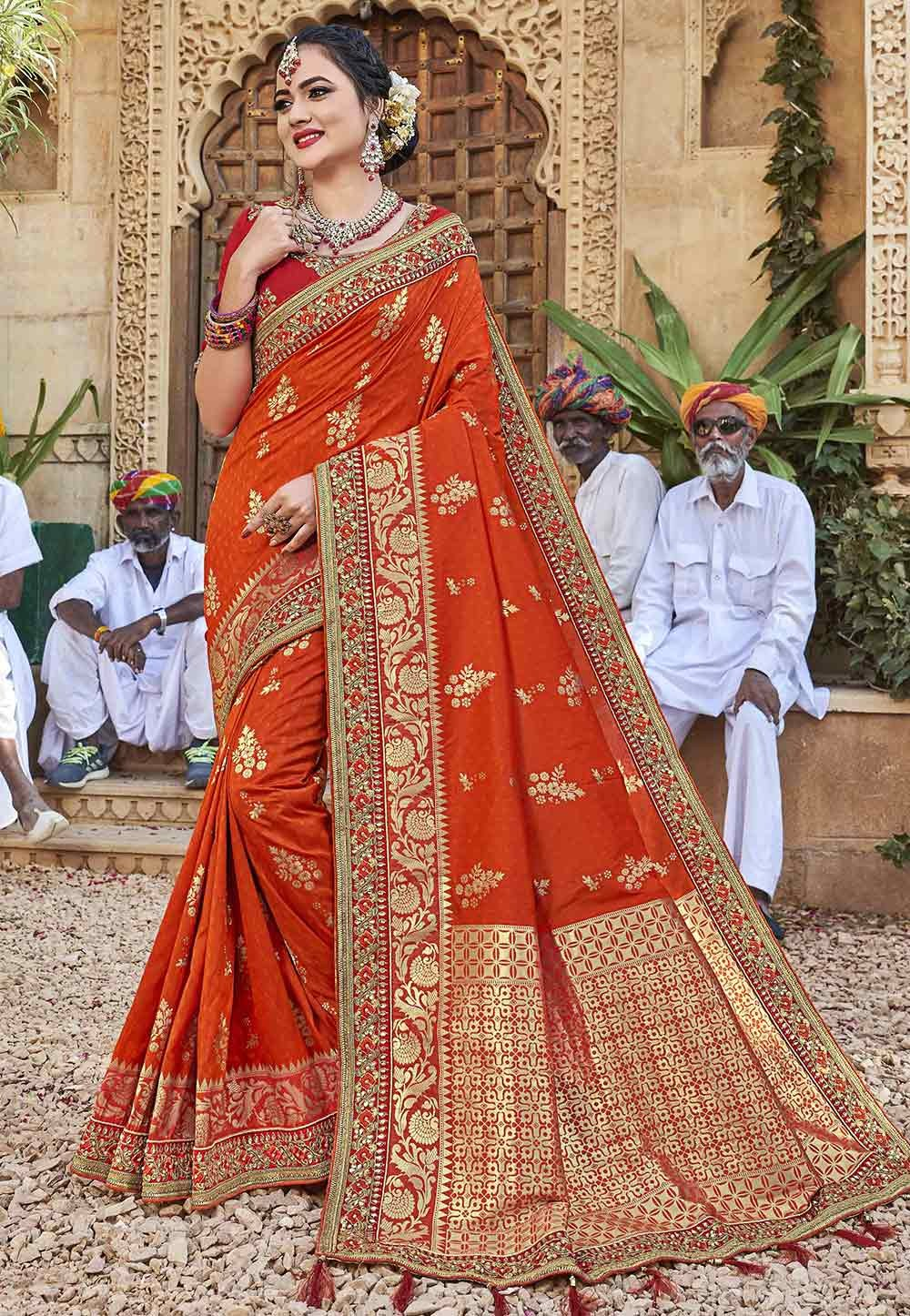 Orange Colour Indian Wedding Saree.