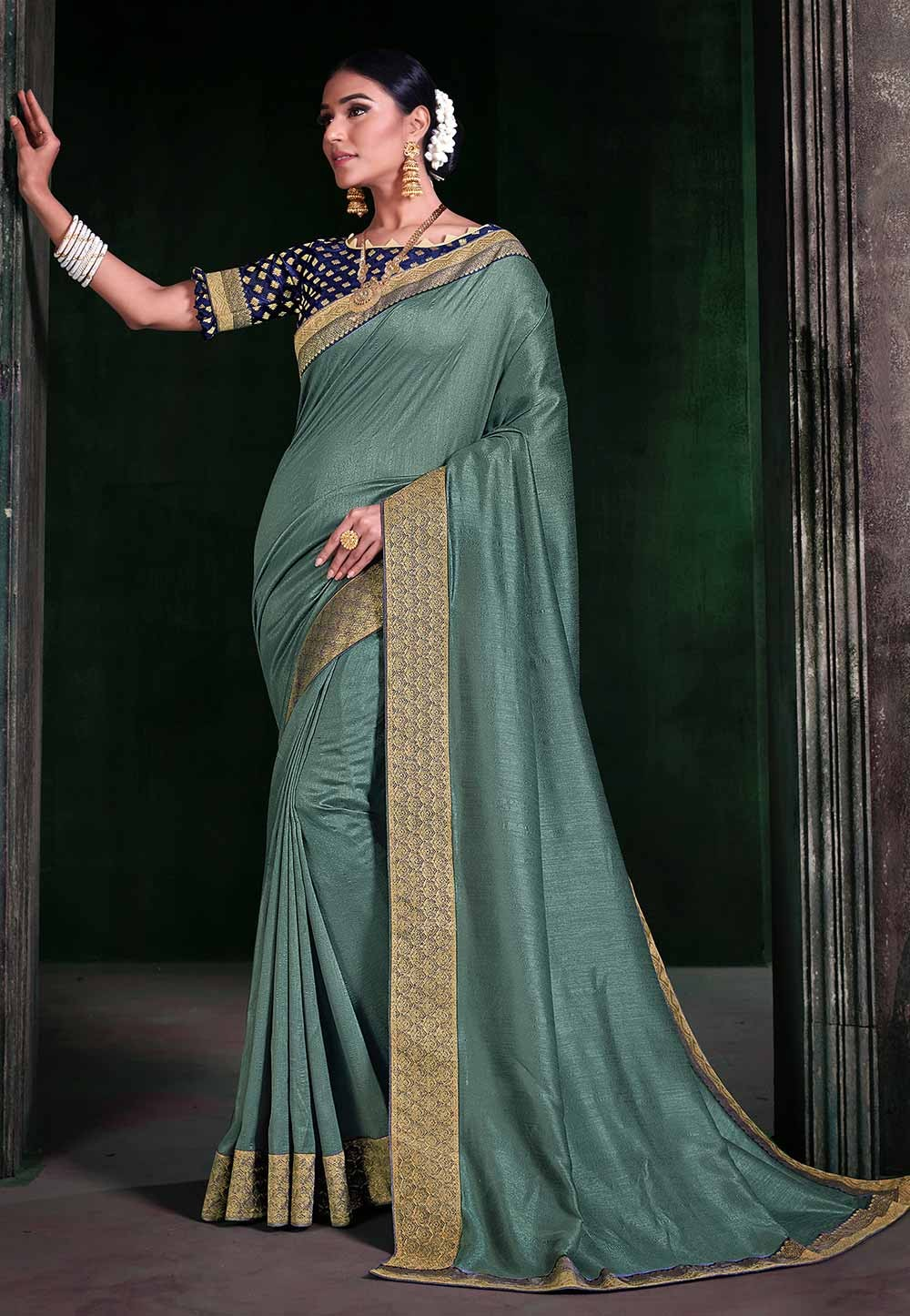 Sea Green Colour Casual Saree.