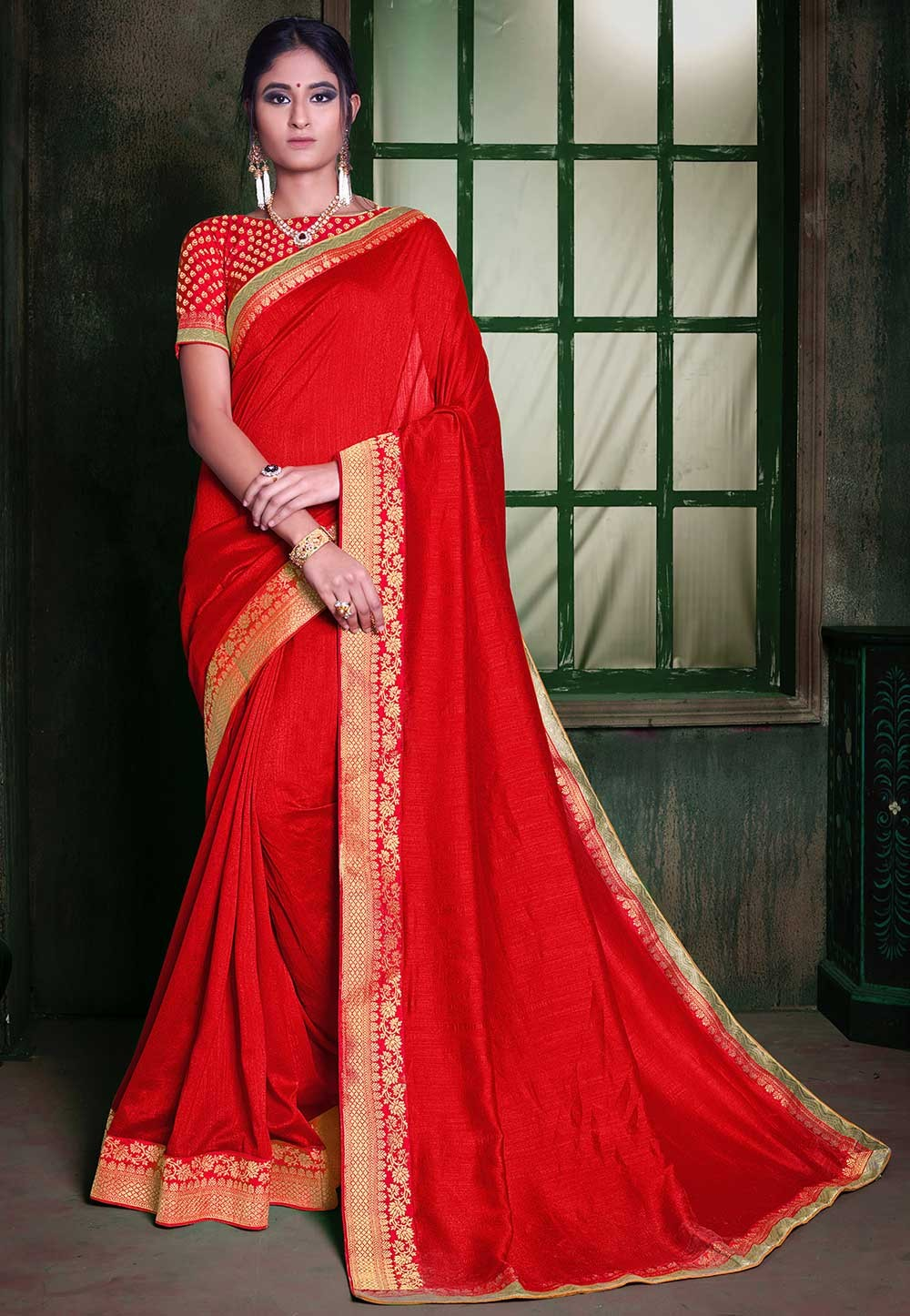Red Colour Indian Designer Sari.