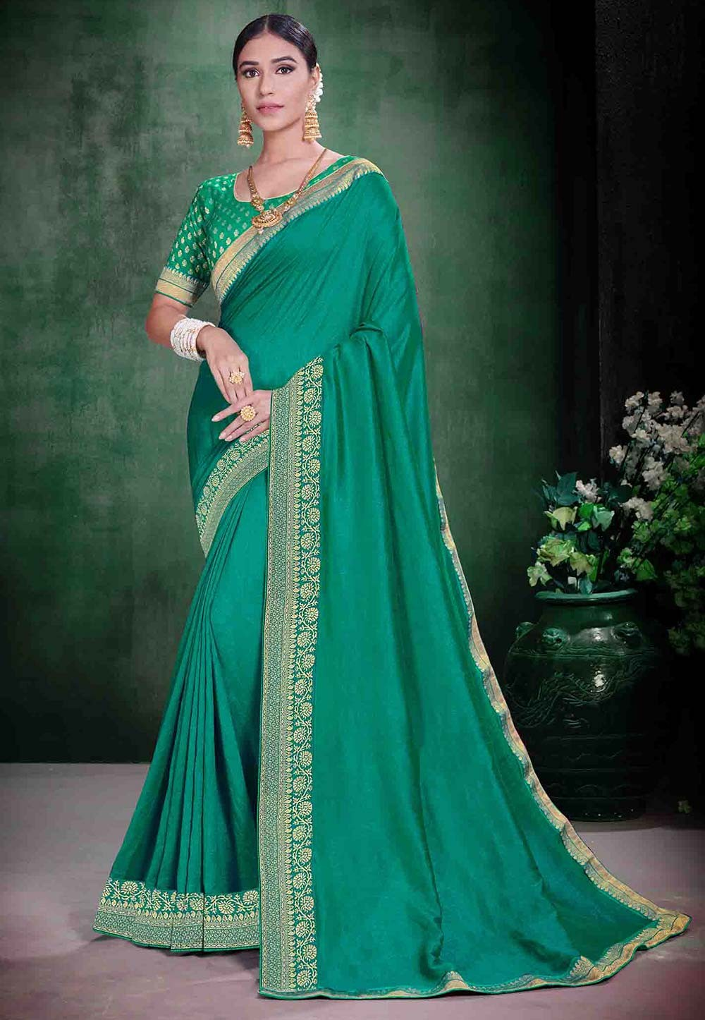 Green Colour Silk Weaving Saree.