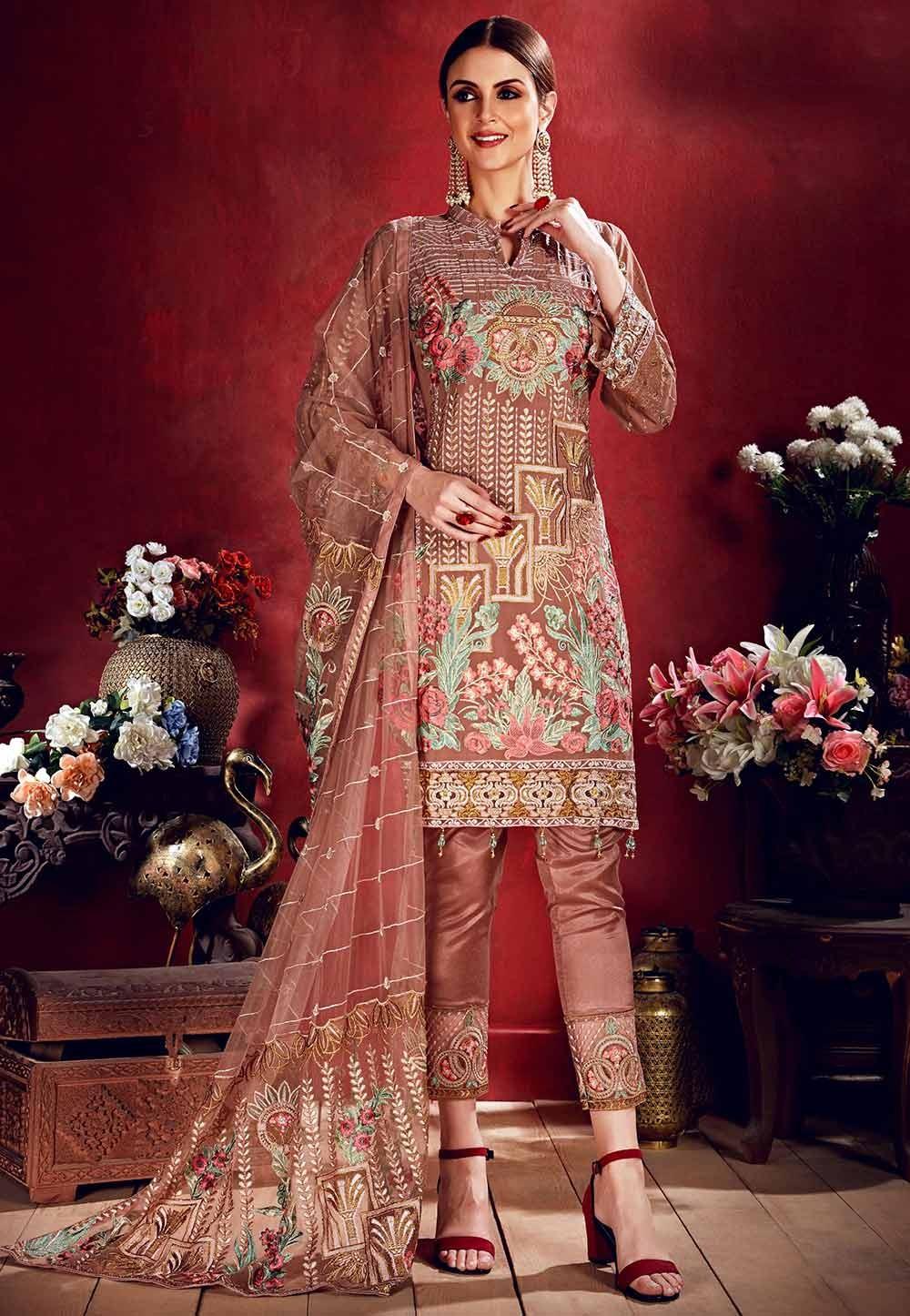 Brown Colour Party Wear Salwar Kameez.