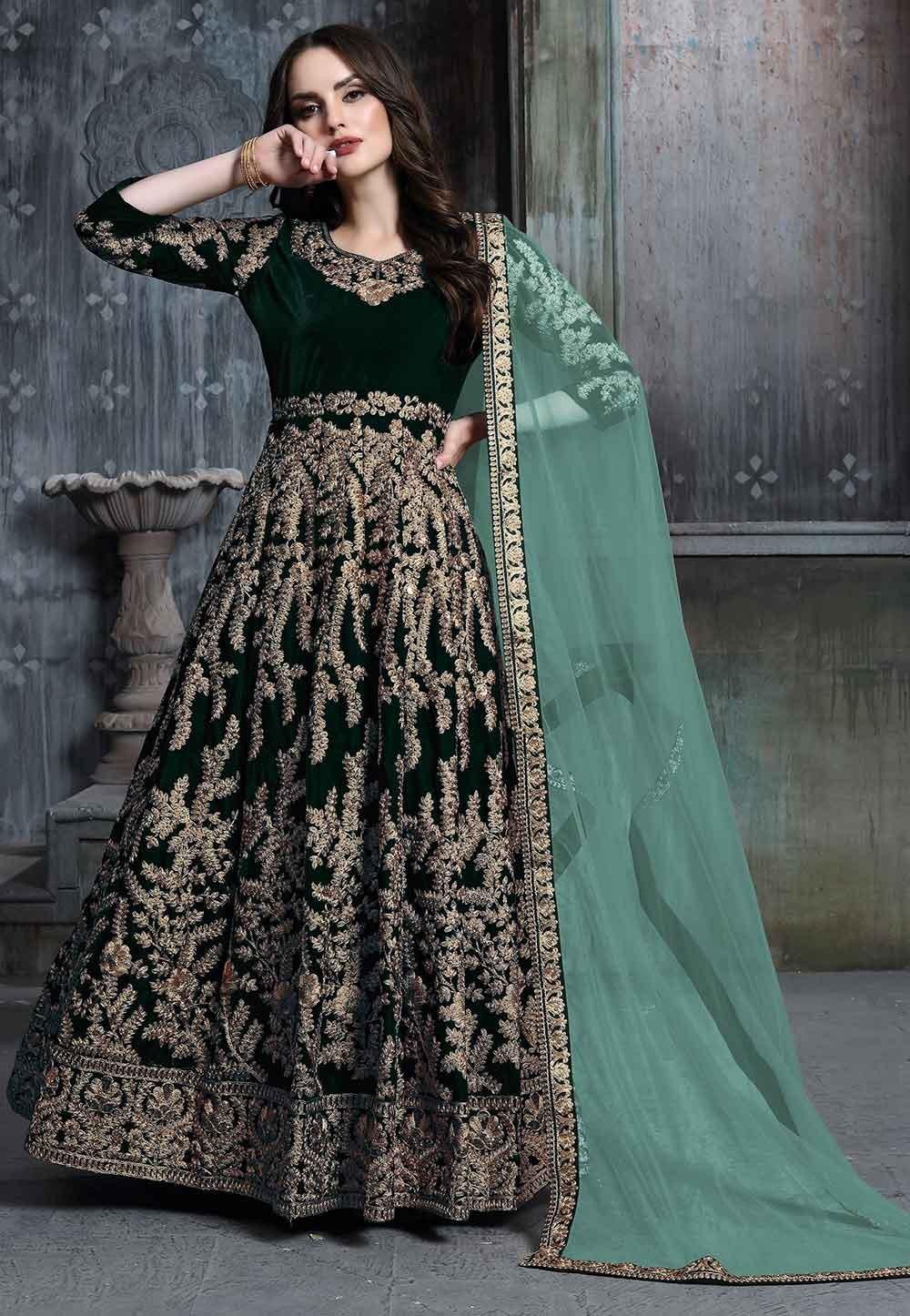 Dark Green Colour Designer Salwar Kameez.