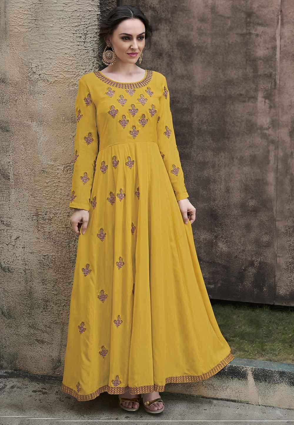 Party Wear Saree Yellow Colour.