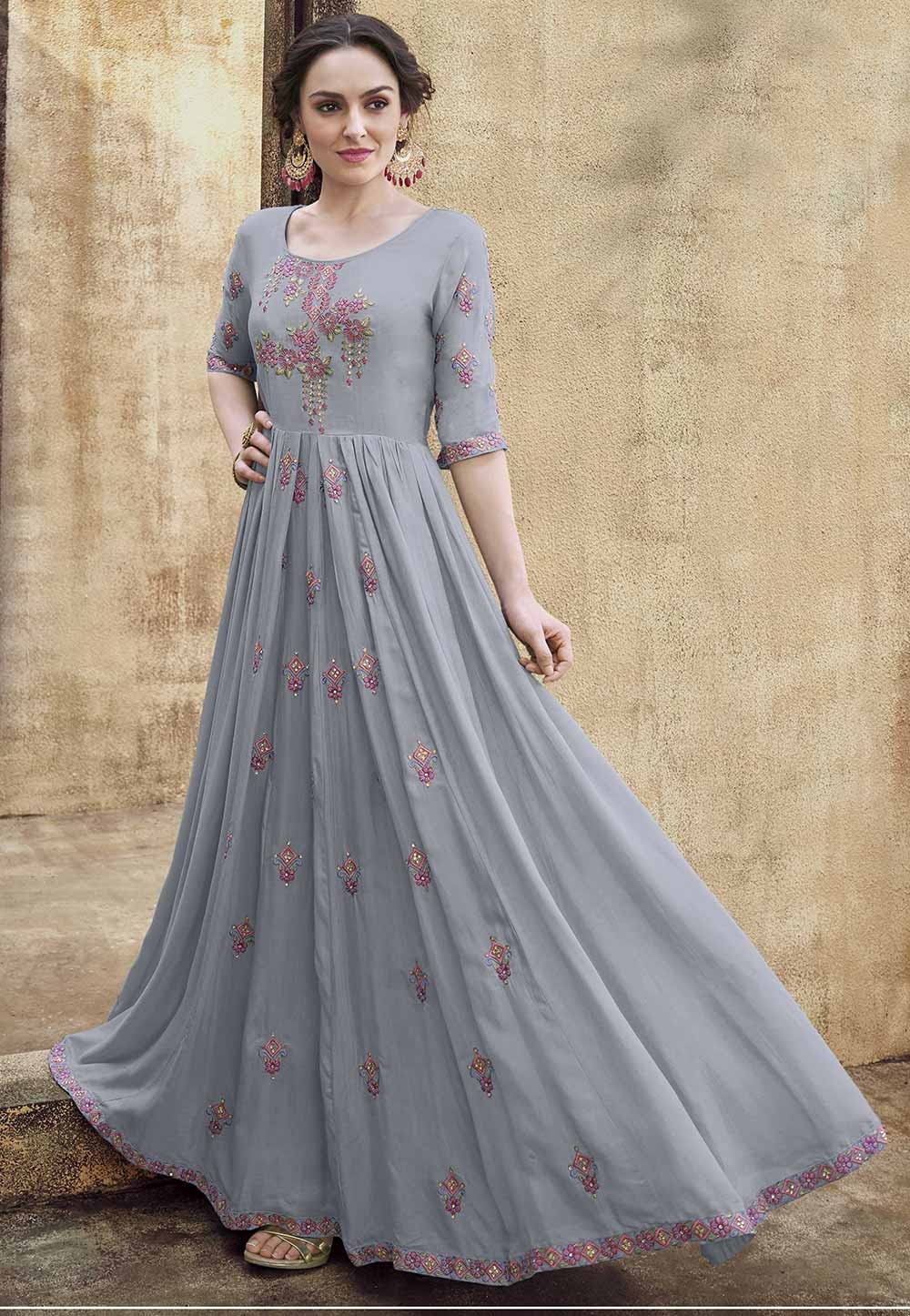 Grey Colour Silk Gown.