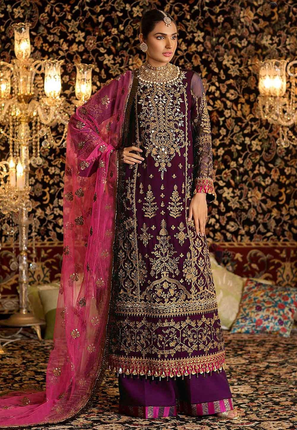 Party Wear Palazzo Suit Purple Colour.