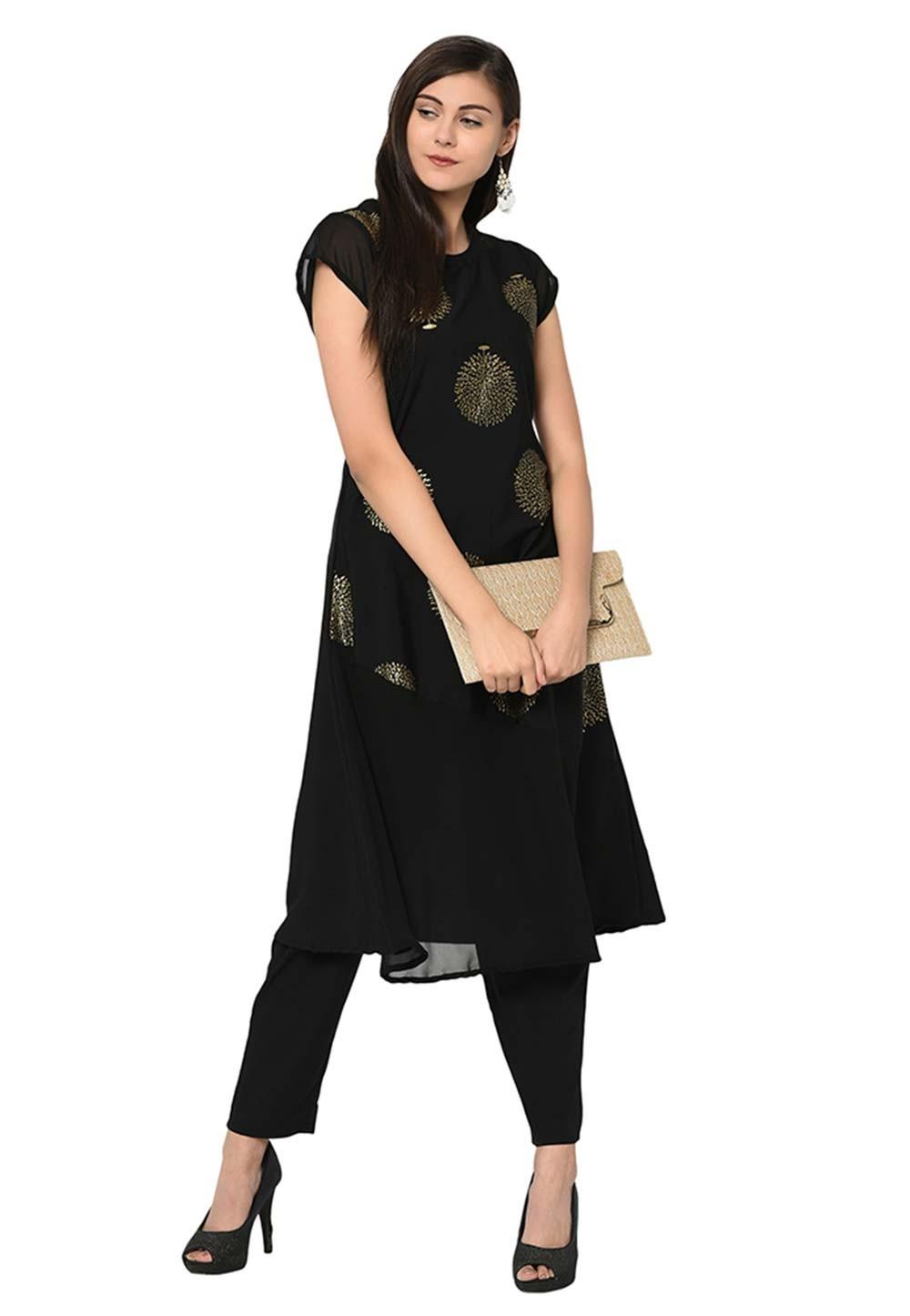 Party Wear Kurti Black Colour.