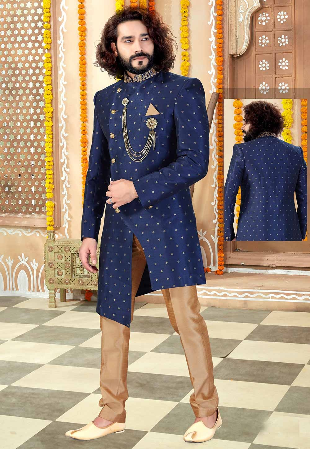 Navy Blue Colour Jacquard Men's Indowestern.