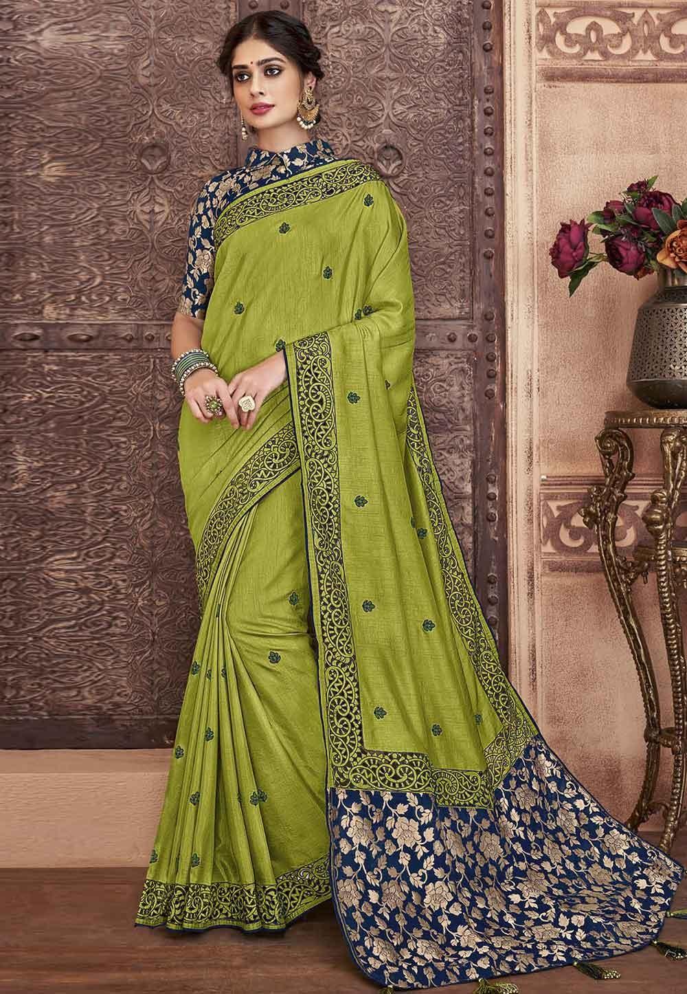 Green Colour Designer Silk Saree.