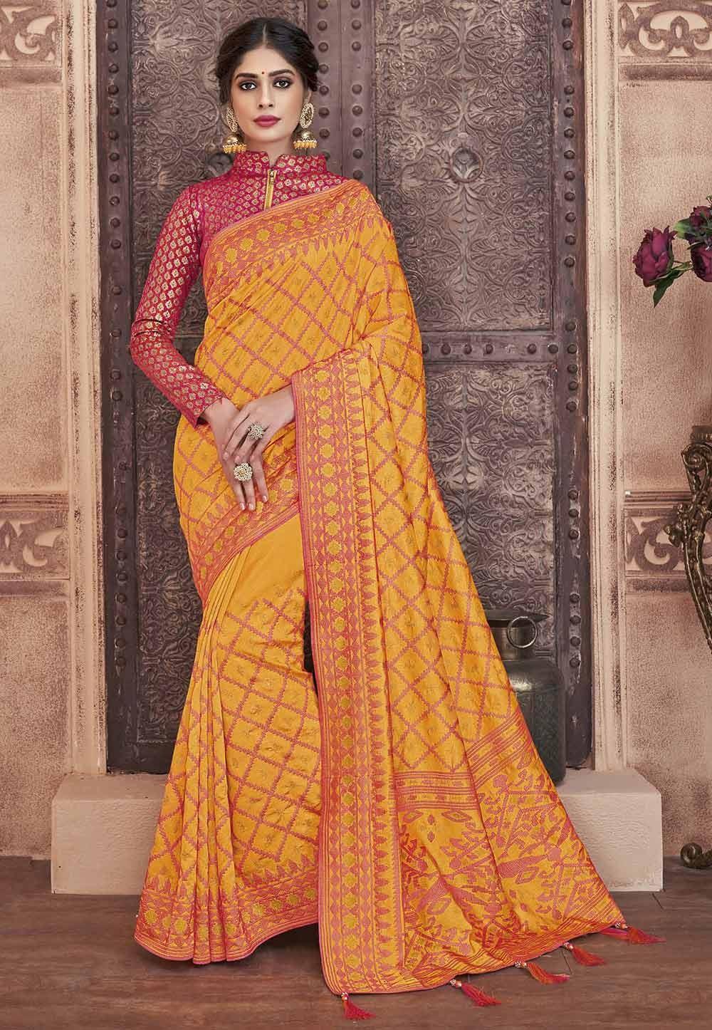 Orange Colour Silk Sari.