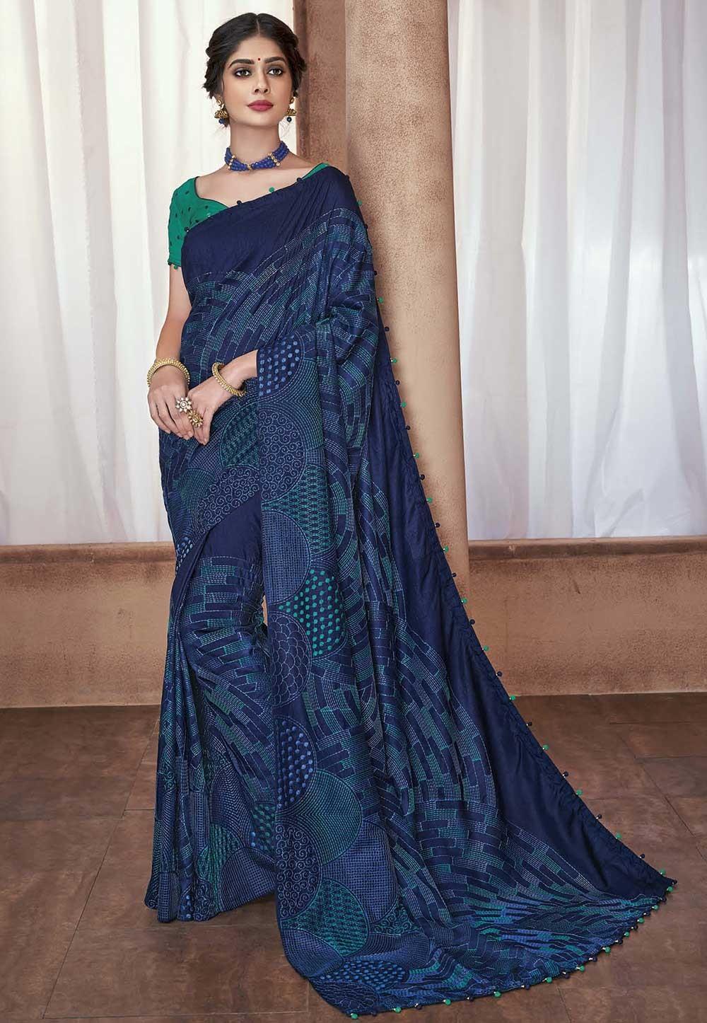 Party Wear Sari Blue Colour.