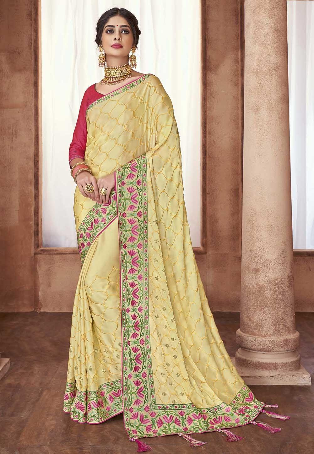 Light Yellow Colour Designer Sari.