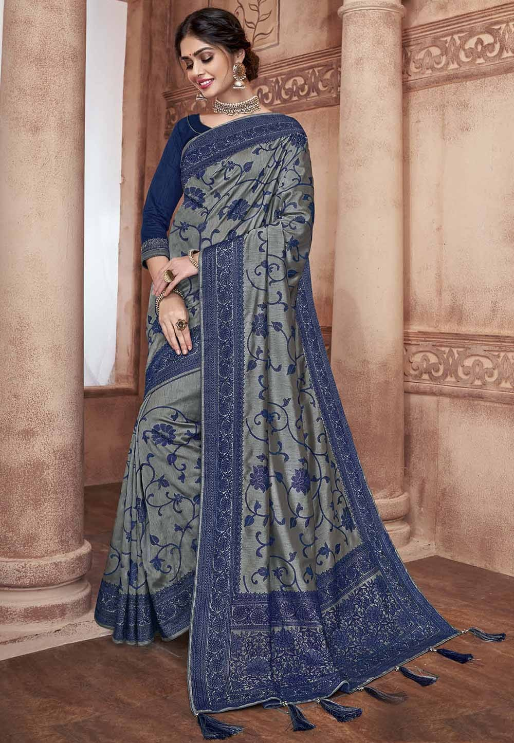 Grey Colour Silk Saree.
