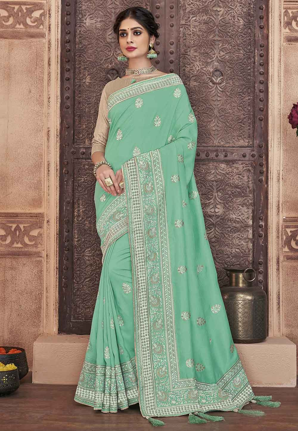 Turquoise Colour Women Saree.