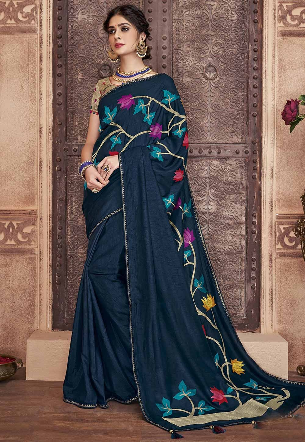 Navy Blue Colour Embroidery Saree.