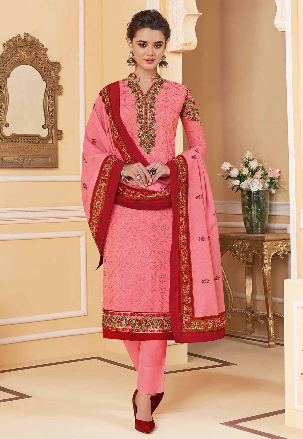 Indian Designer Salwar Suit Pink Colour.
