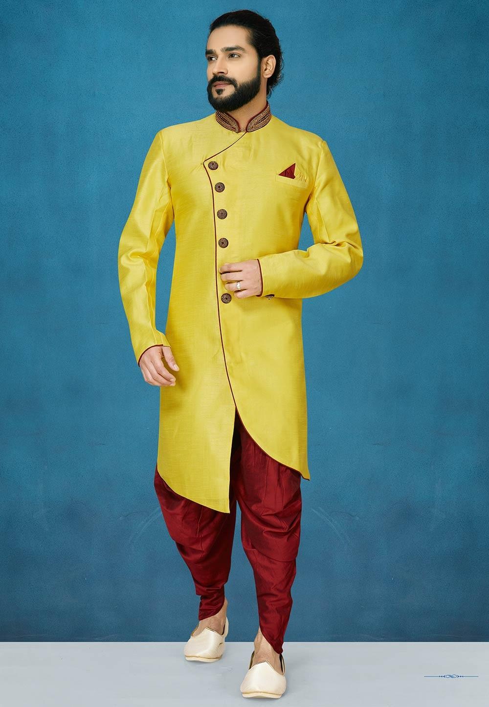 Yellow Colour Men's Wear Indowestern.