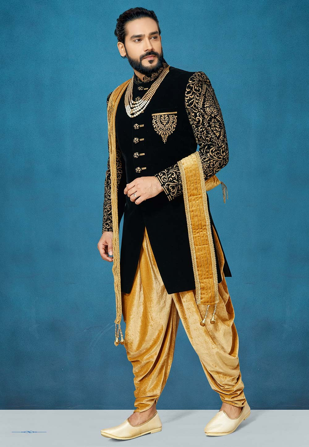 Black Colour Designer Sherwani.