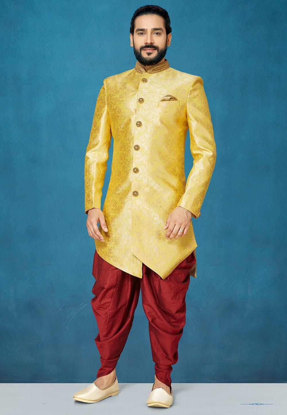 Men's Designer Indowestern in Yellow Colour.
