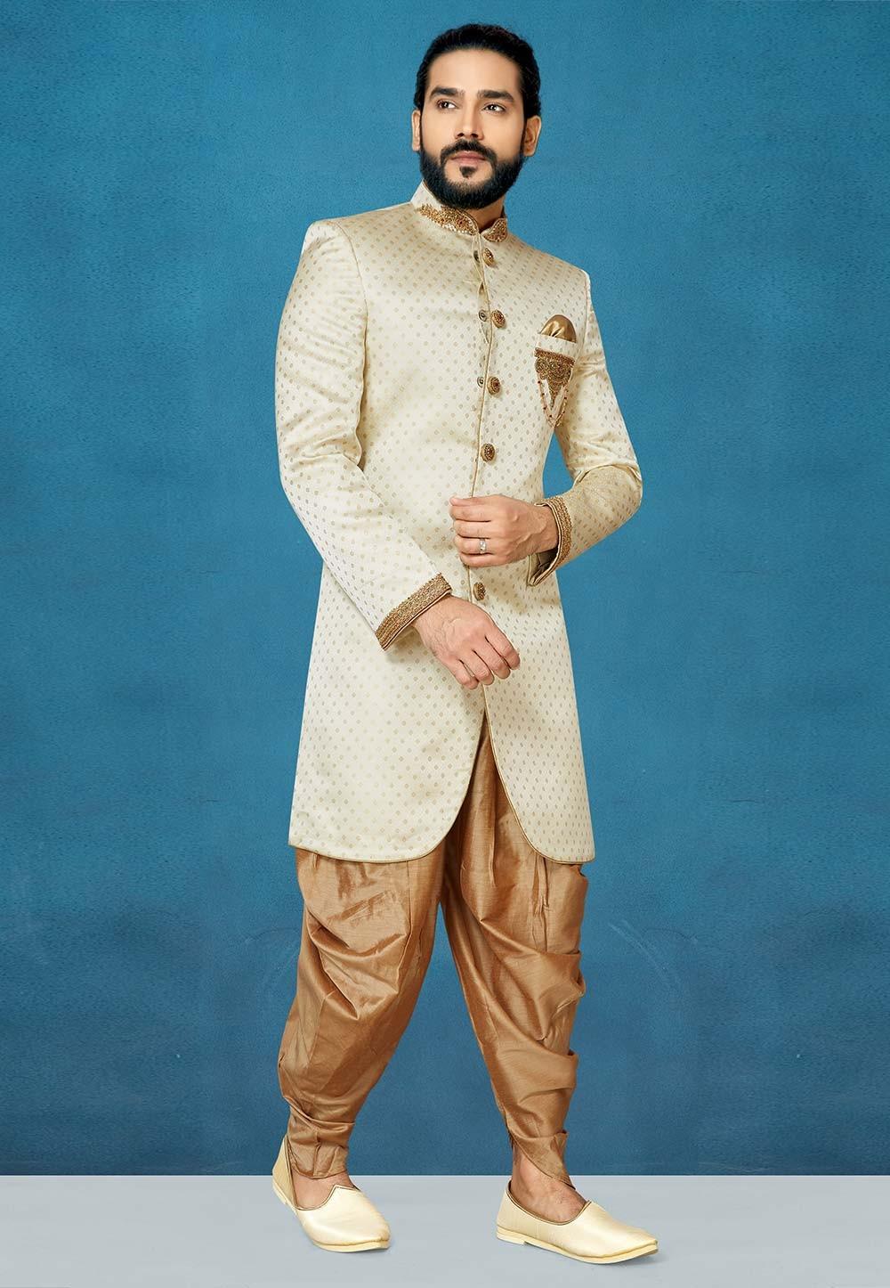 Men,s Designer Indowestern in Cream Colour.