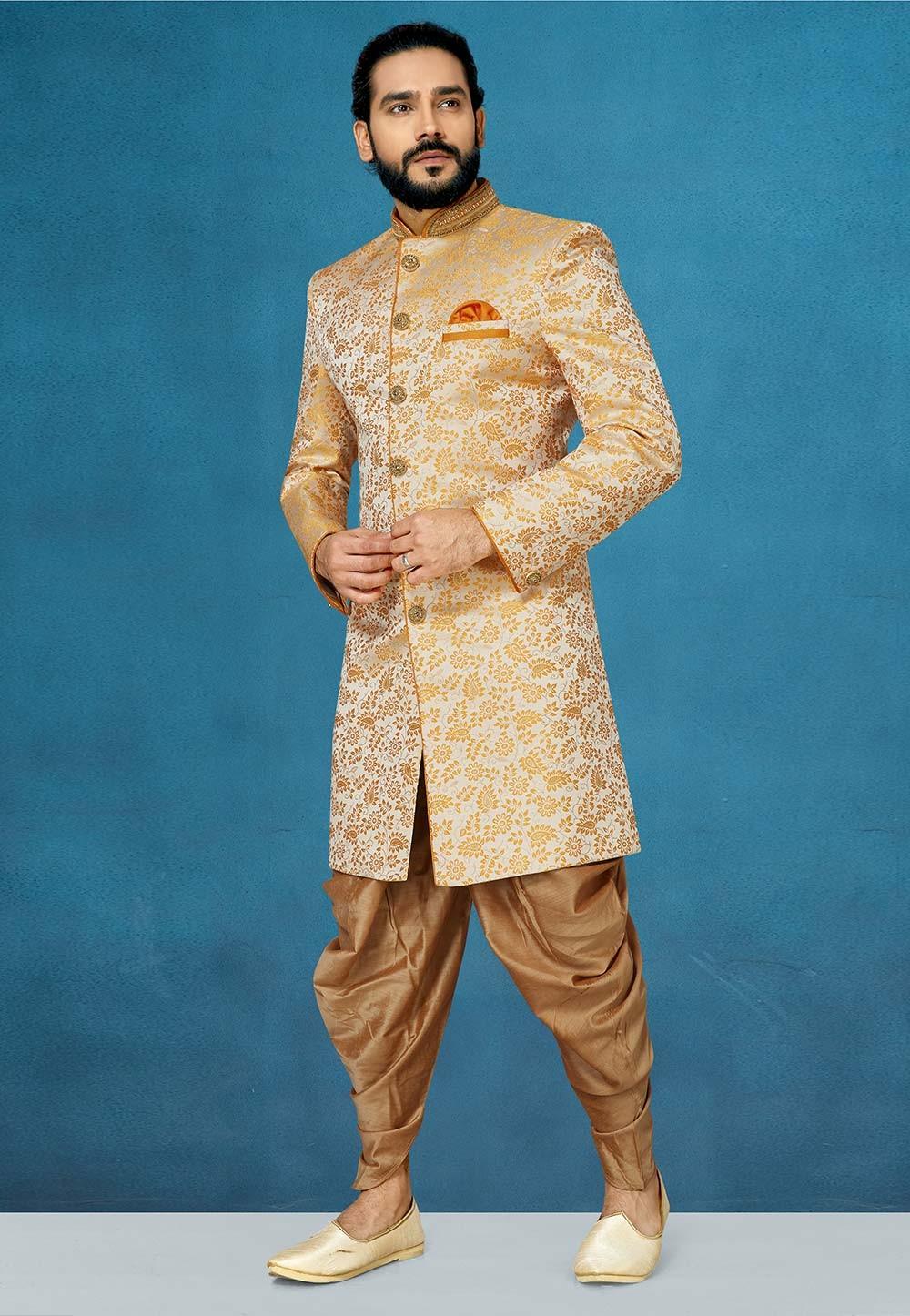 Orange Colour Jacquard Indowestern For Men.