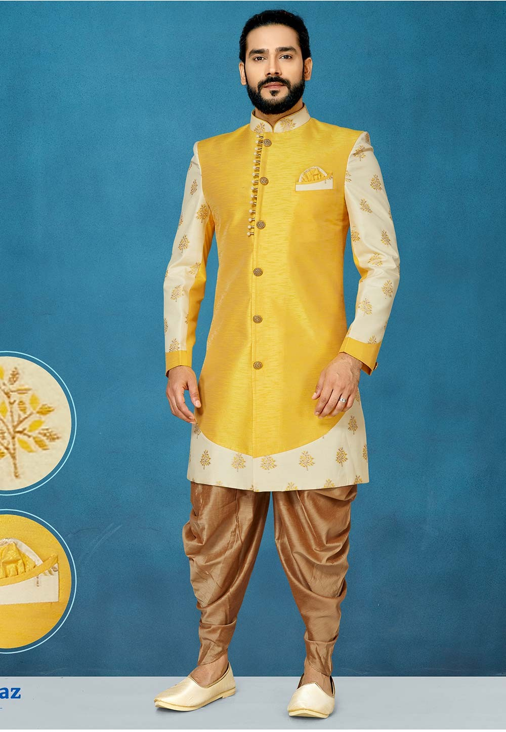 Yellow Colour Stylish Designer Indowestern.