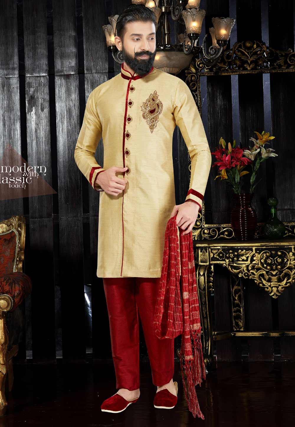 Exquisite Raglan Sleeves Gold Color Dupion Art Silk Readymade Kurta For Men's