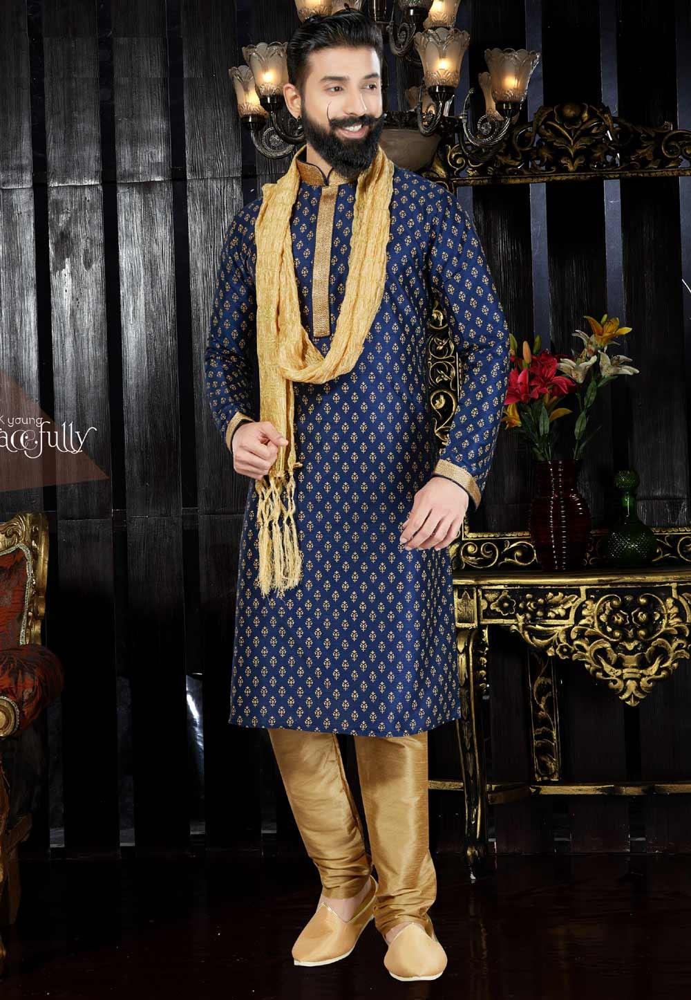 Men's Dupion Art Silk with Thread Navy Blue Readymade Kurta