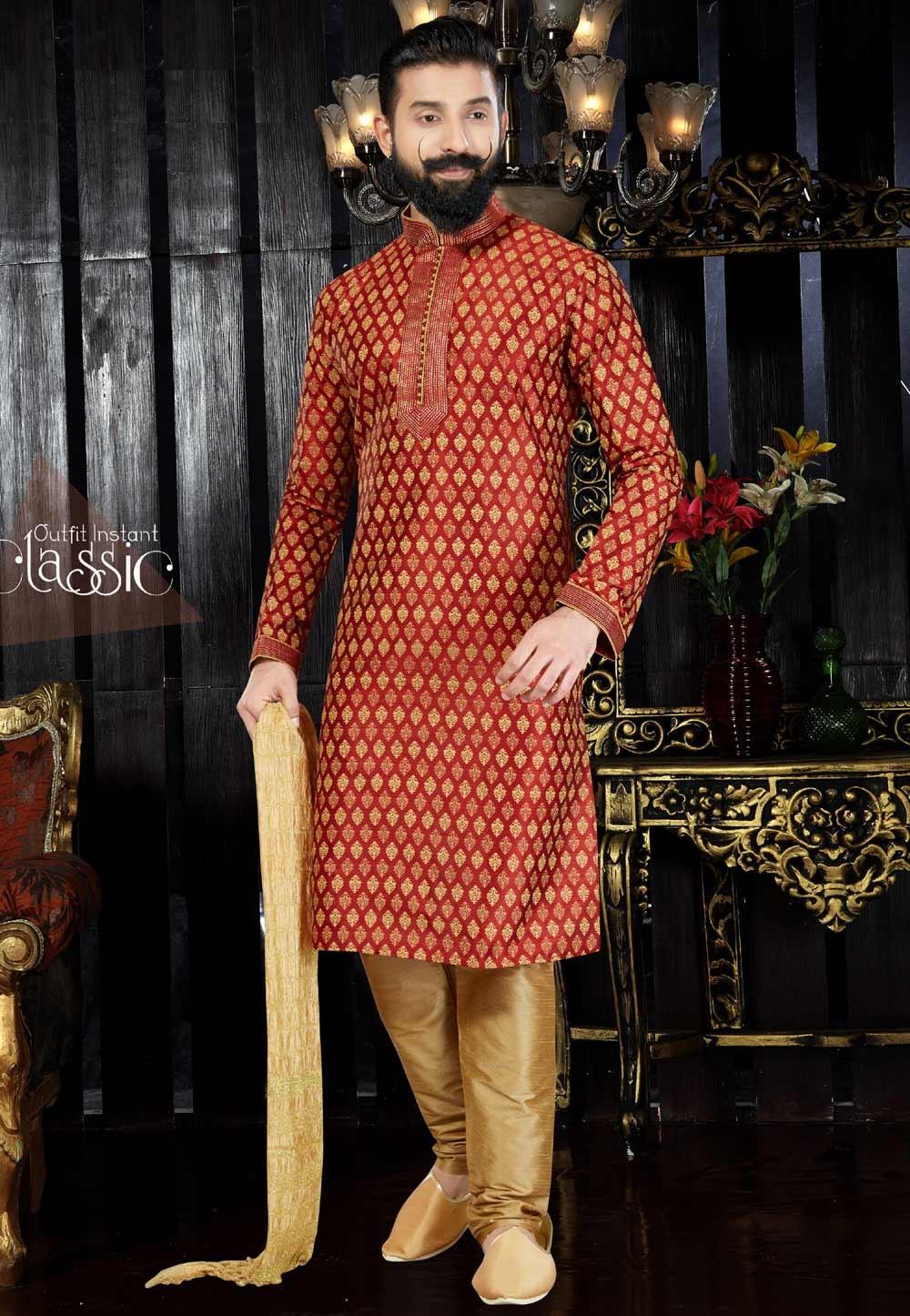 Exquisite Dupion Art Silk & Maroon Color Readymade Kurta