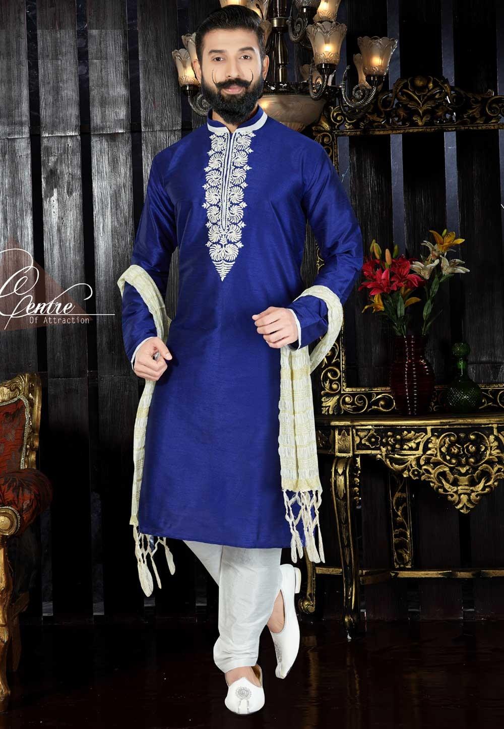 Royal Blue Color & Dupion Art Silk Readymade Kurta For Men's