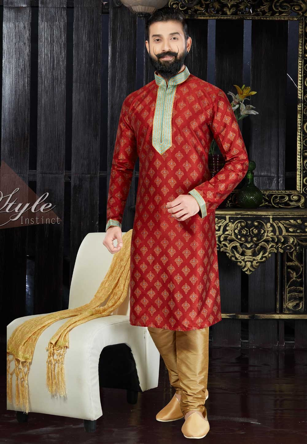 Exquisite Chinese Collar Men's Dupion Art Silk with Thread Work Maroon Readymade Kurta