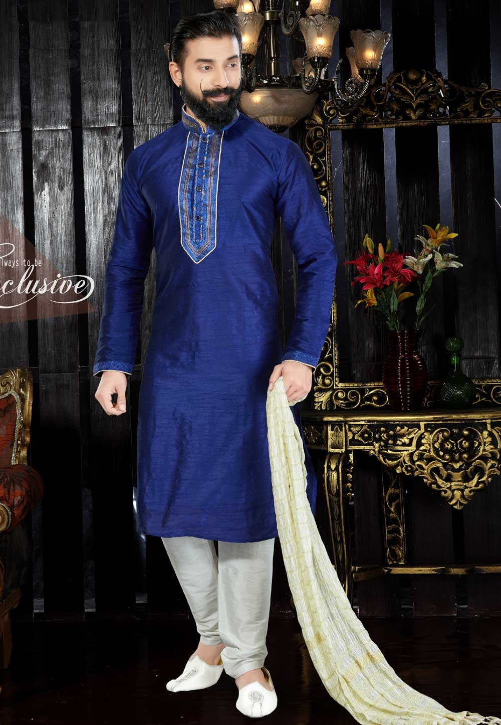 Men's Exquisite Dupion Art Silk & Royal Blue Color Readymade Kurta
