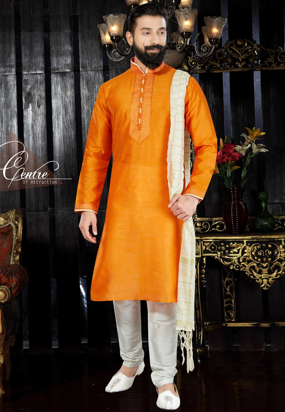 Exquisite Chinese Collar Men's Dupion Art Silk with Thread Orange Readymade Kurta