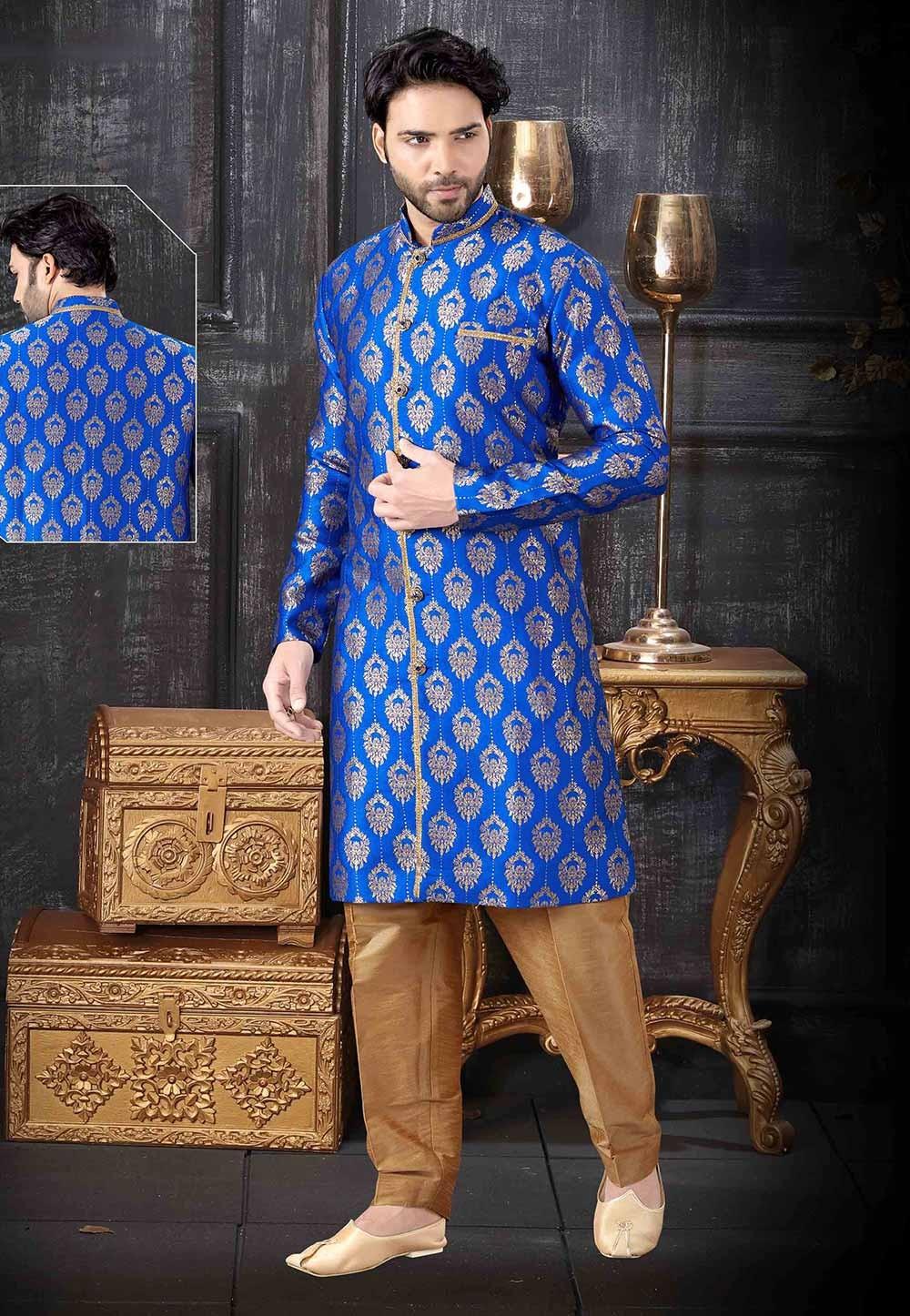 Party Wear Indowestern Royal Blue Colour.