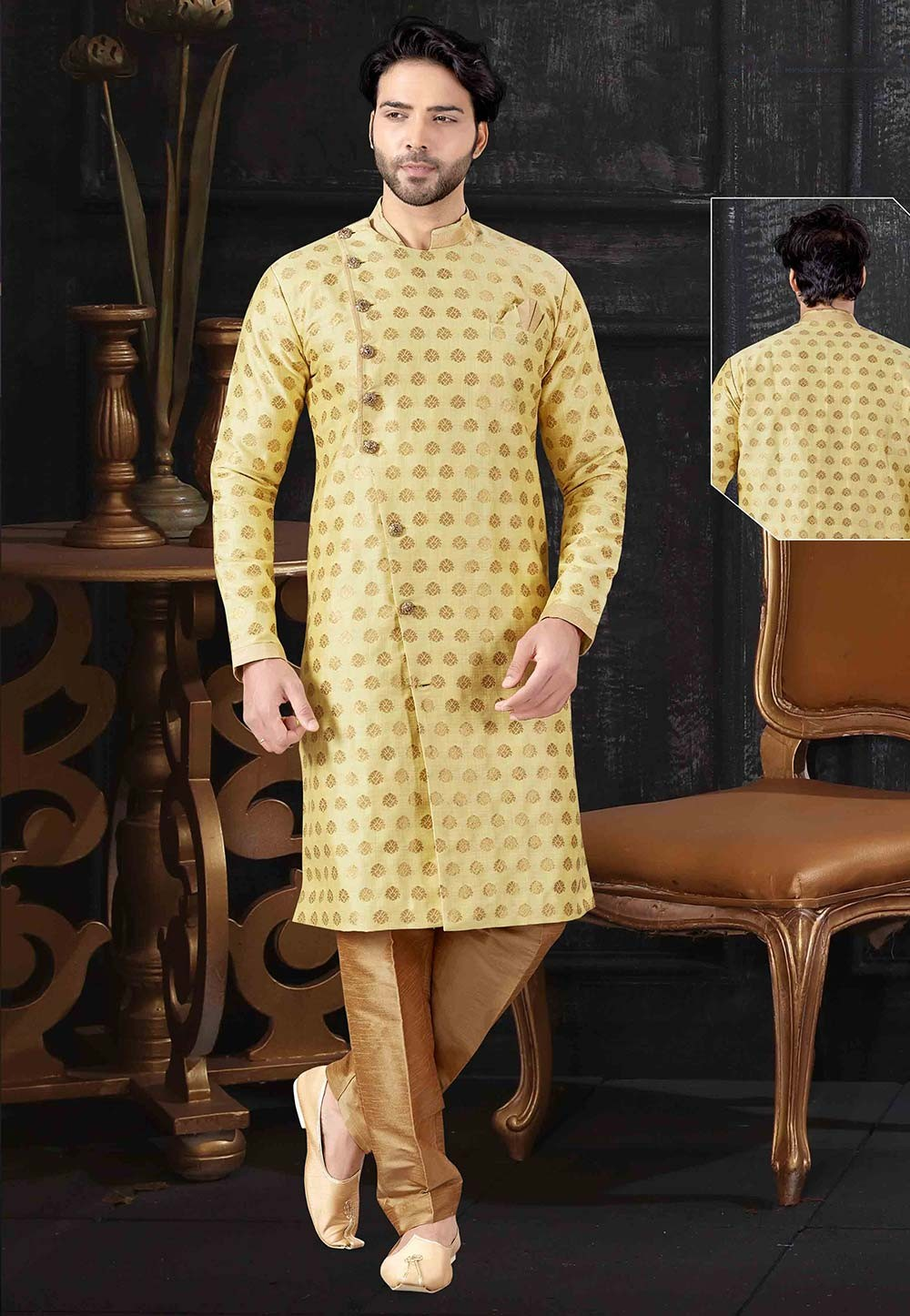 Designer Indowestern Yellow Colour.