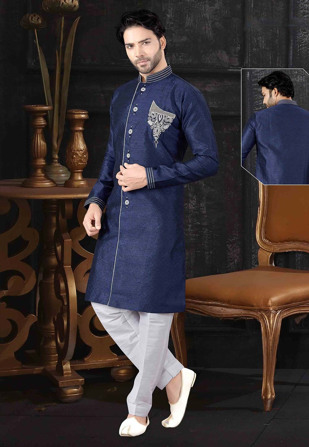 Blue Colour Indowestern For Men.