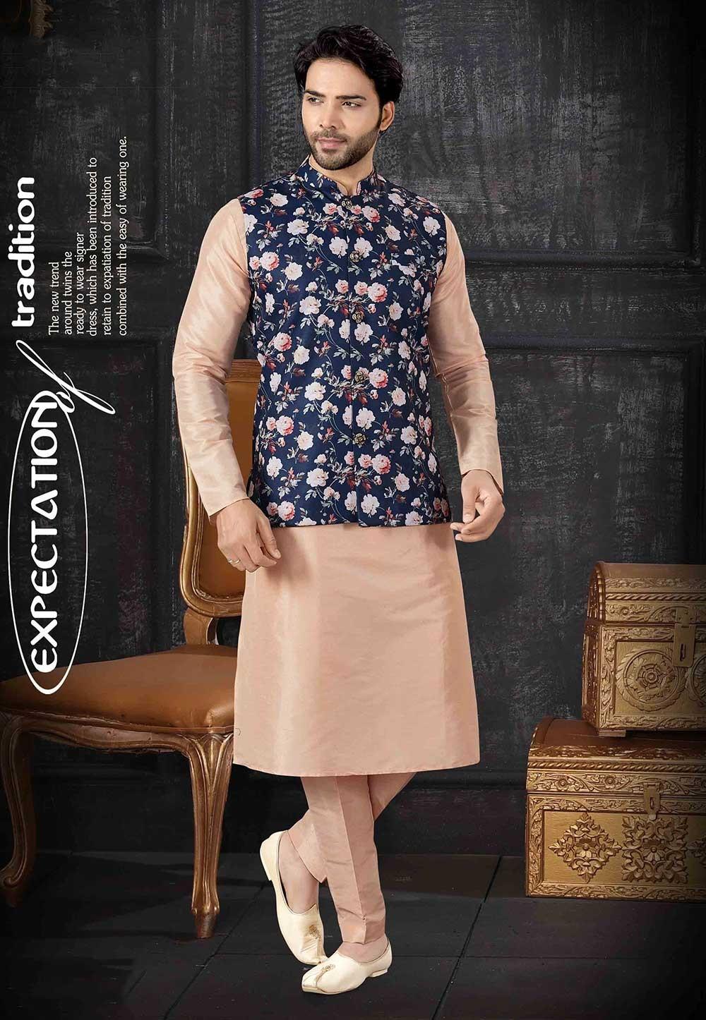 Cream,Blue Colour Kurta Pajama With Jacket.