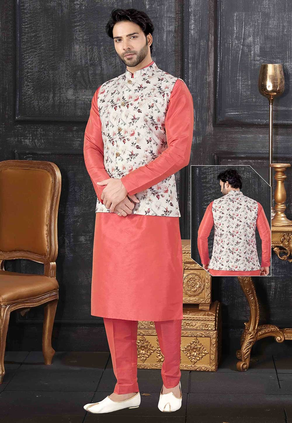 Red,Multi Colour Party Wear Kurta Pajama Jacket.