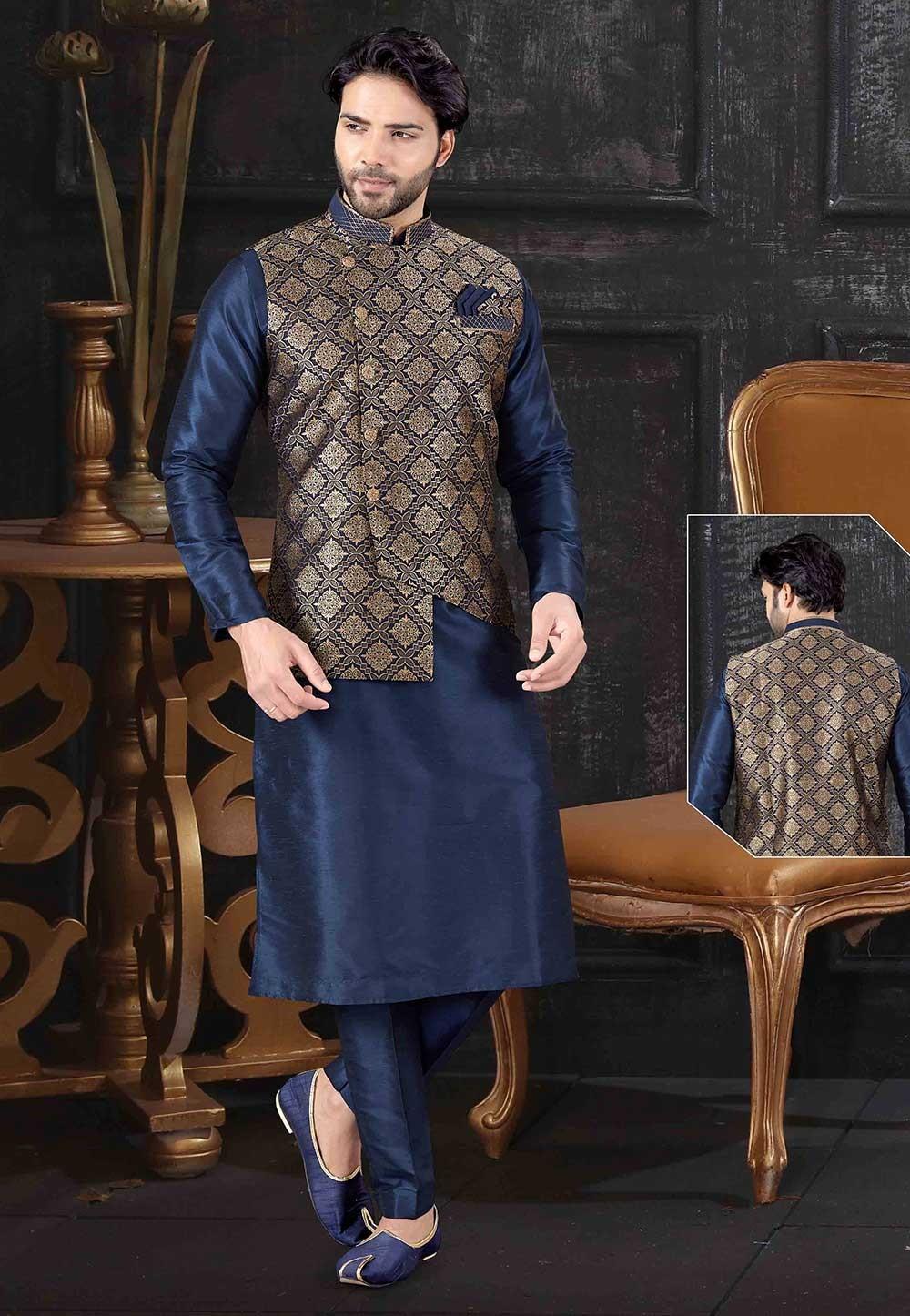Blue Colour Art Silk Readymade Kurta Pajama Jacket.