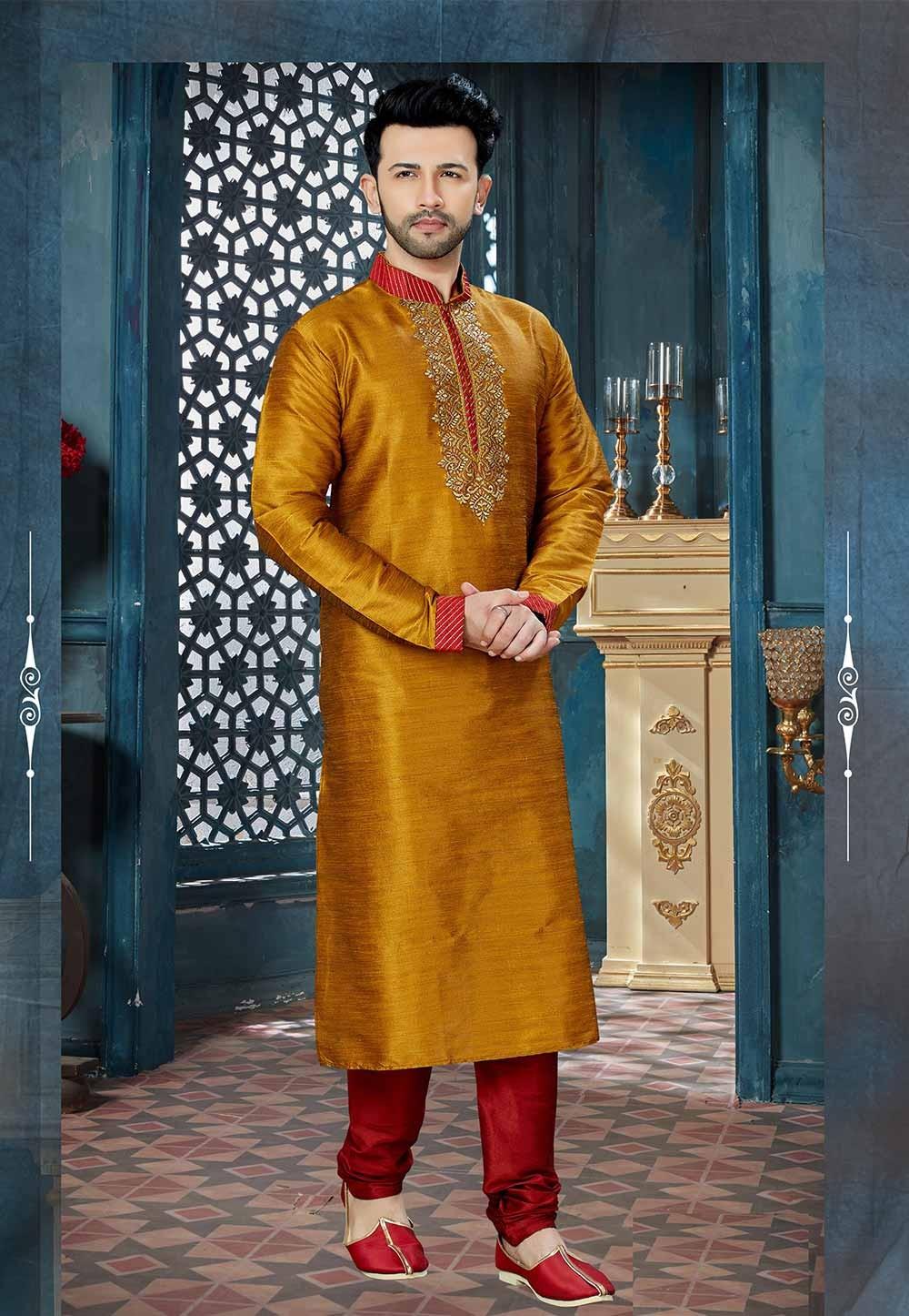 Golden,Yellow Color Wedding Kurta Pajama.