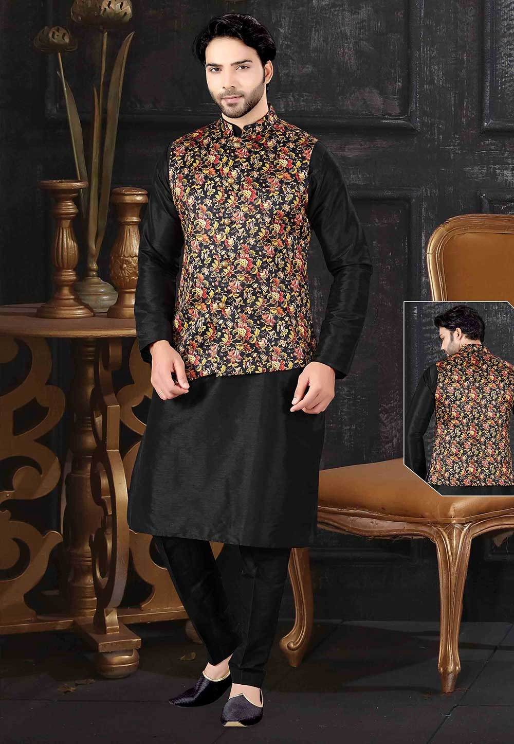 Black,Multi Colour Art Silk Designer Kurta Pajama Jacket.