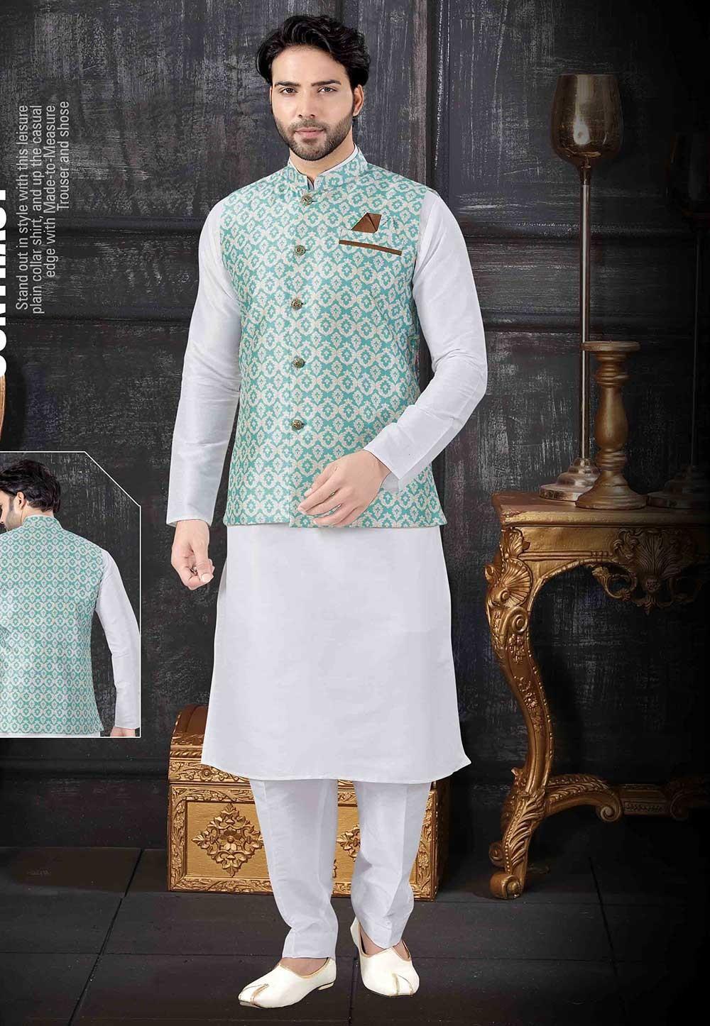 Off White,Green Colour Kurta Pajama Jacket.