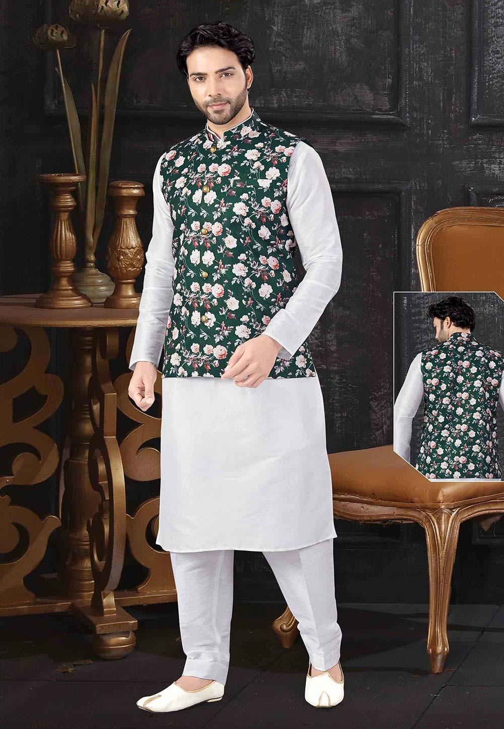 Off White,Green Colour Kurta Pajama Jacket For Men.