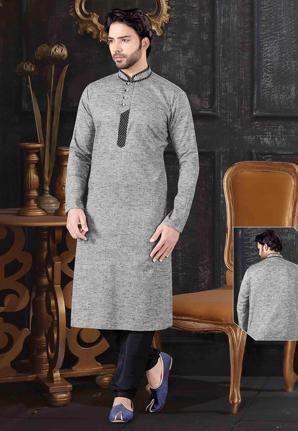 Grey Colour Khadi Fabric Men's Kurta Pajama.