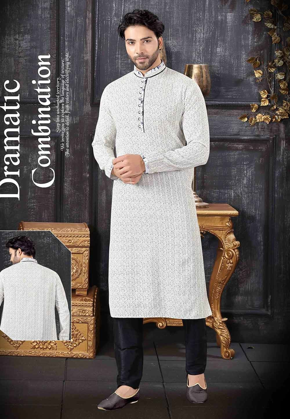 Men's Designer Kurta Pajama Off White Colour.