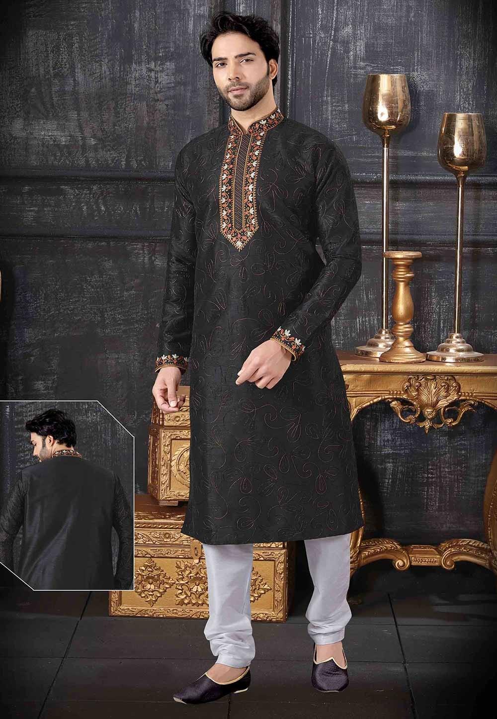 Black Colour Art Silk Kurta Pajama.