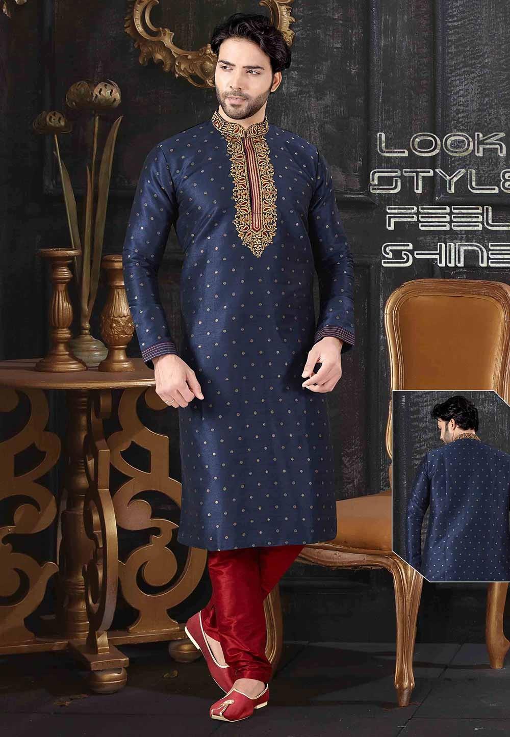 Navy Blue Colour Indian Designer Kurta Pajama.